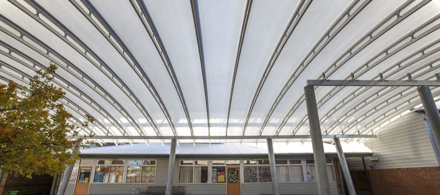 Golden Grove Primary School Courtyard Danpalon Roofing Space Truss System, exceptional suite of polycarbonate cladding and roofing structures from Danpal with a Thickness of 16mm