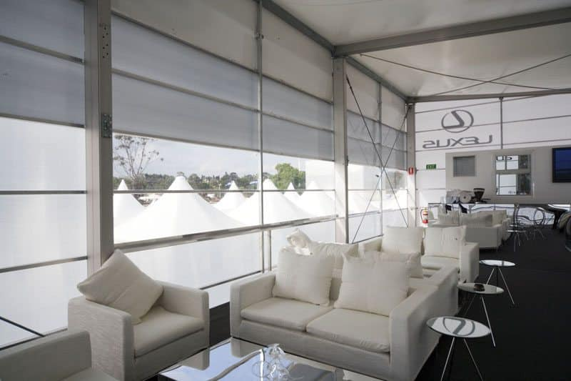 No5 Lexus Pavilion Melbourne Cup Flemington Racecourse V8 using Translucent Polycarbonate Interior Facades