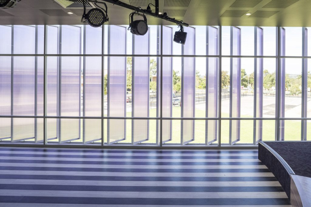 External Vertical Window Louvres by Danpalon for Endeavour College blue exterior shading systems