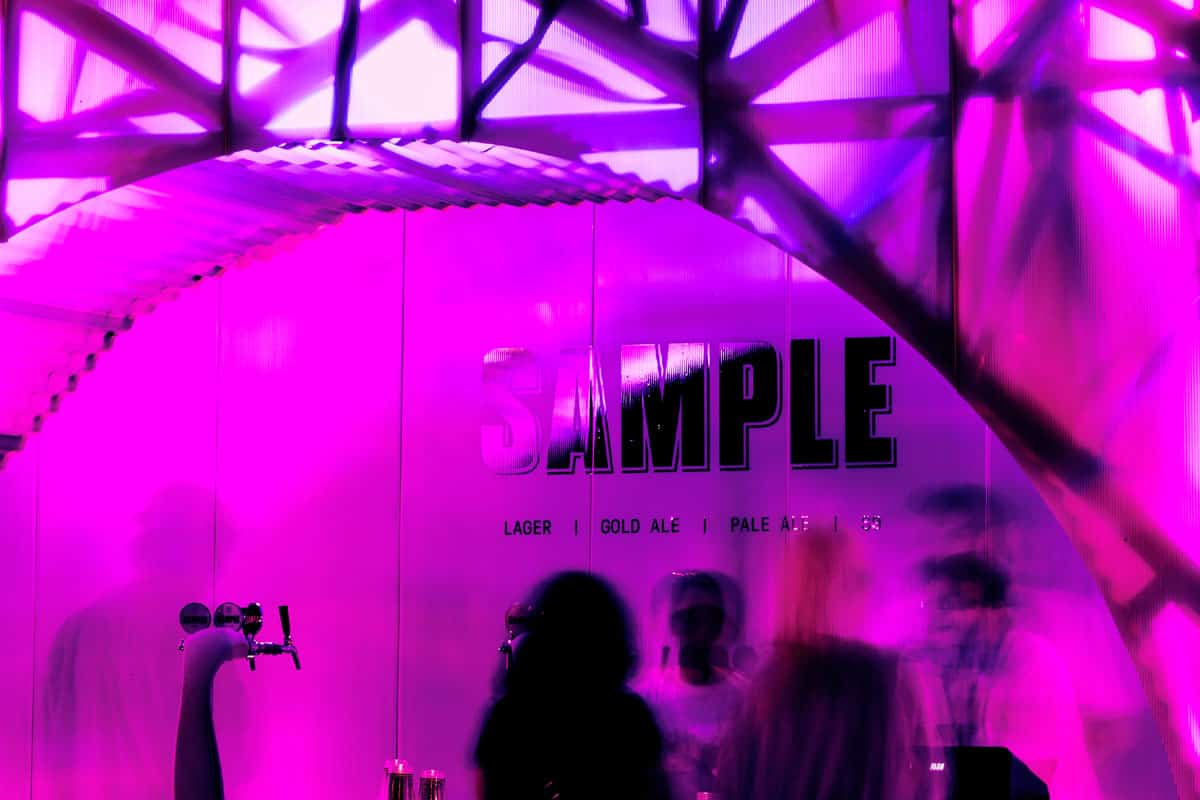 Interior Wall Cladding Sample Brew, Sugar Mountain Festival Melbourne by night