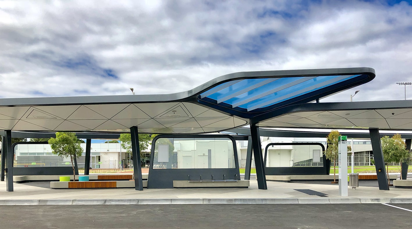 Blue Tinted Clear Polycarbonate Roofing Sheets, Curtin University Bus Exchange, WA