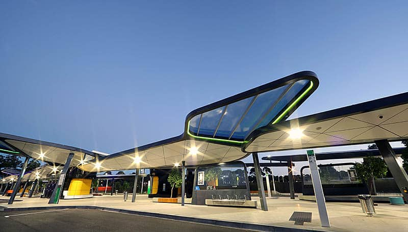 Translucent Polycarbonate Roofing Danpalon Panels - Curtin University Bus Exchange, WA