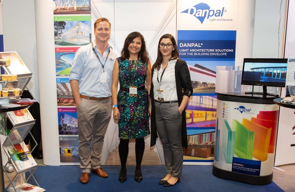 The Danpal team proudly presenting their architectural systems and solutions to architects at the Equinox Expo in Sydney