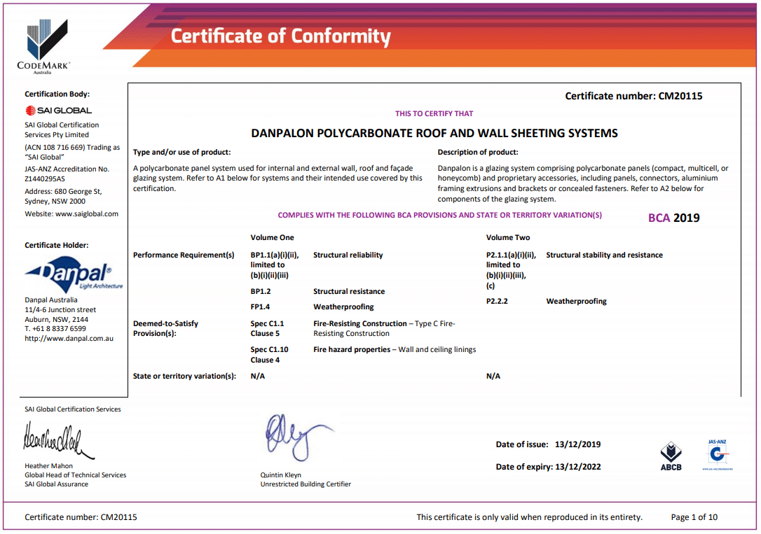 ABCB CodeMark certification for Danpal