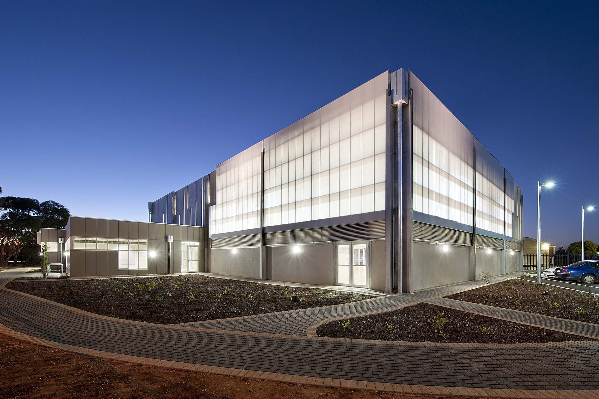 Custom Tinted Polycarbonate Facade Panels - St Columba College Gymnasium, South Australia