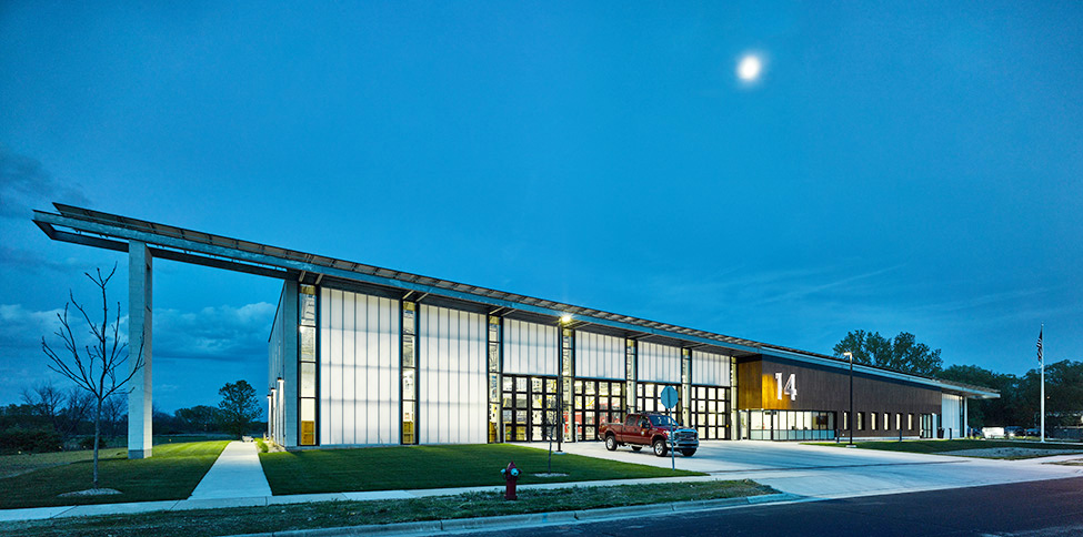 External Polycarbonate Facade Wall Daylighting creating Illuminated exteriors as shown with this Fire Station