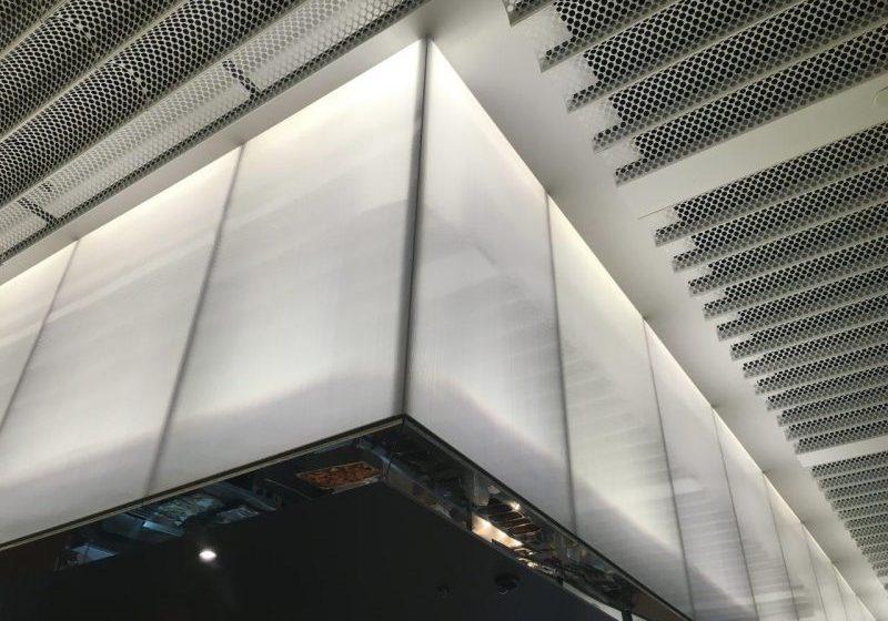 Barangaroo Cafeteria backlit interior Façade, Danpal® Seamless Facade detail looking up, 16 mm thickness. Ice White polycarbonate sheets. Sydney, Australia